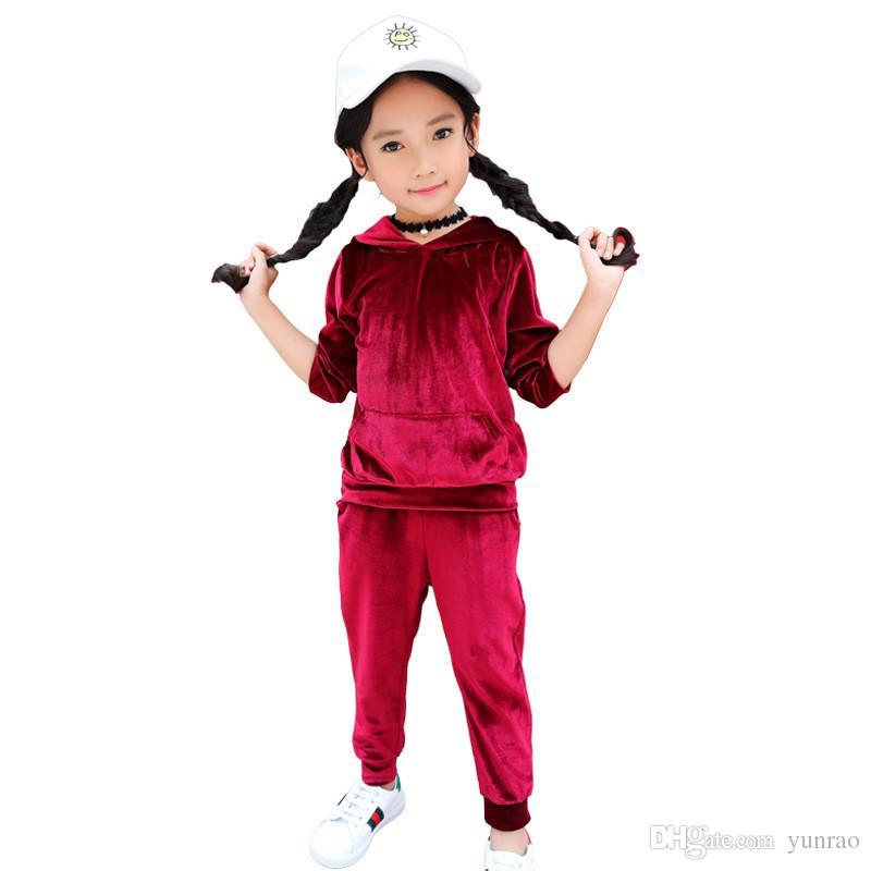 Baby-Kleidung Junge Kleidung Kinder Anzug Kinder Designerkleidung Mädchen 2ST Sport beiläufige Klage Grau, Rot, Marineblau mit Kapuze Spitze