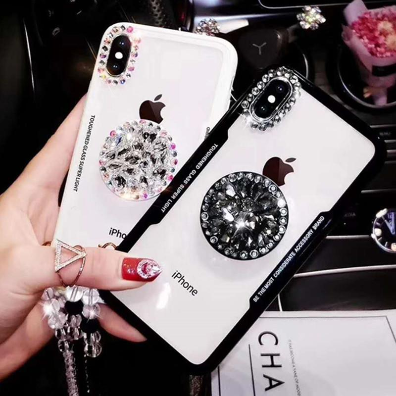 For iPhone XS Max iPhone X XS Bling Diamond Air Stand Holder Phone Case for iPhone XS XR X Sparkle Bling Cover + Strap + Holder