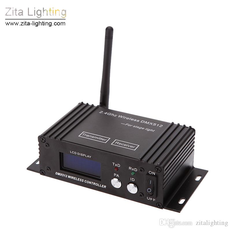 2Pcs/Lot Zita Lighting Wireless DMX 512 Stage Lighting 2.4G Transmitter Receiver LCD Display Power Adjustable Repeater Lighting Controller