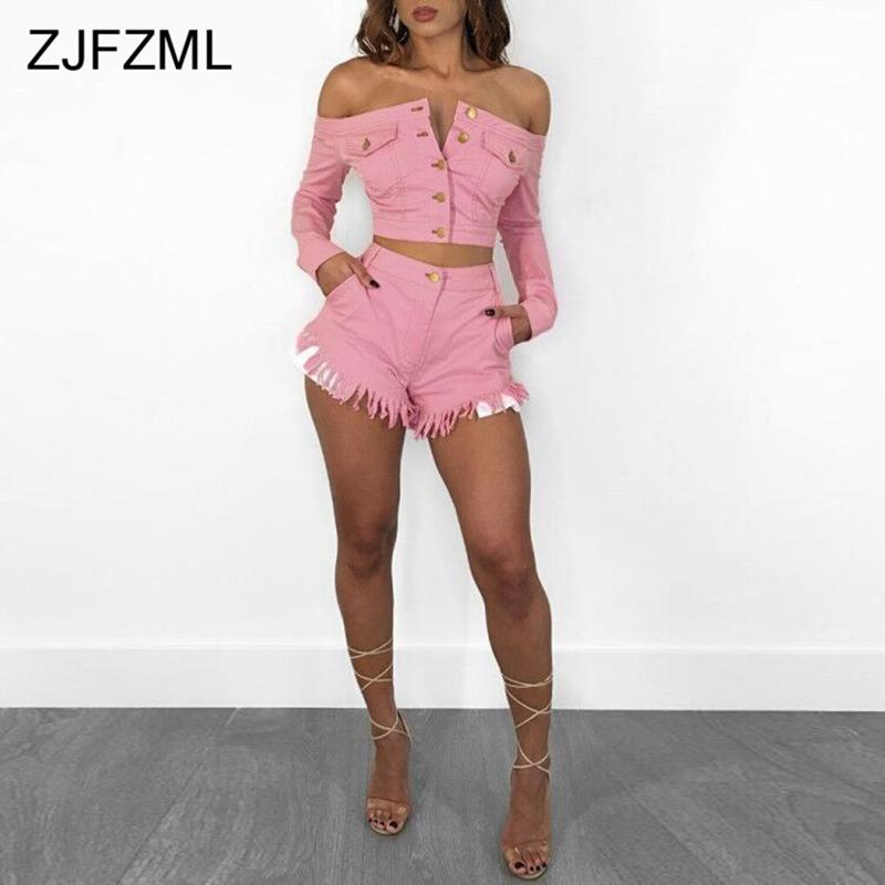 Pink Denim Sexy Two Piece Tracksuits Women Slash Neck Long Sleeve Buttons Crop Top And Pockets Tassels Short Casual 2 Pcs Outfit