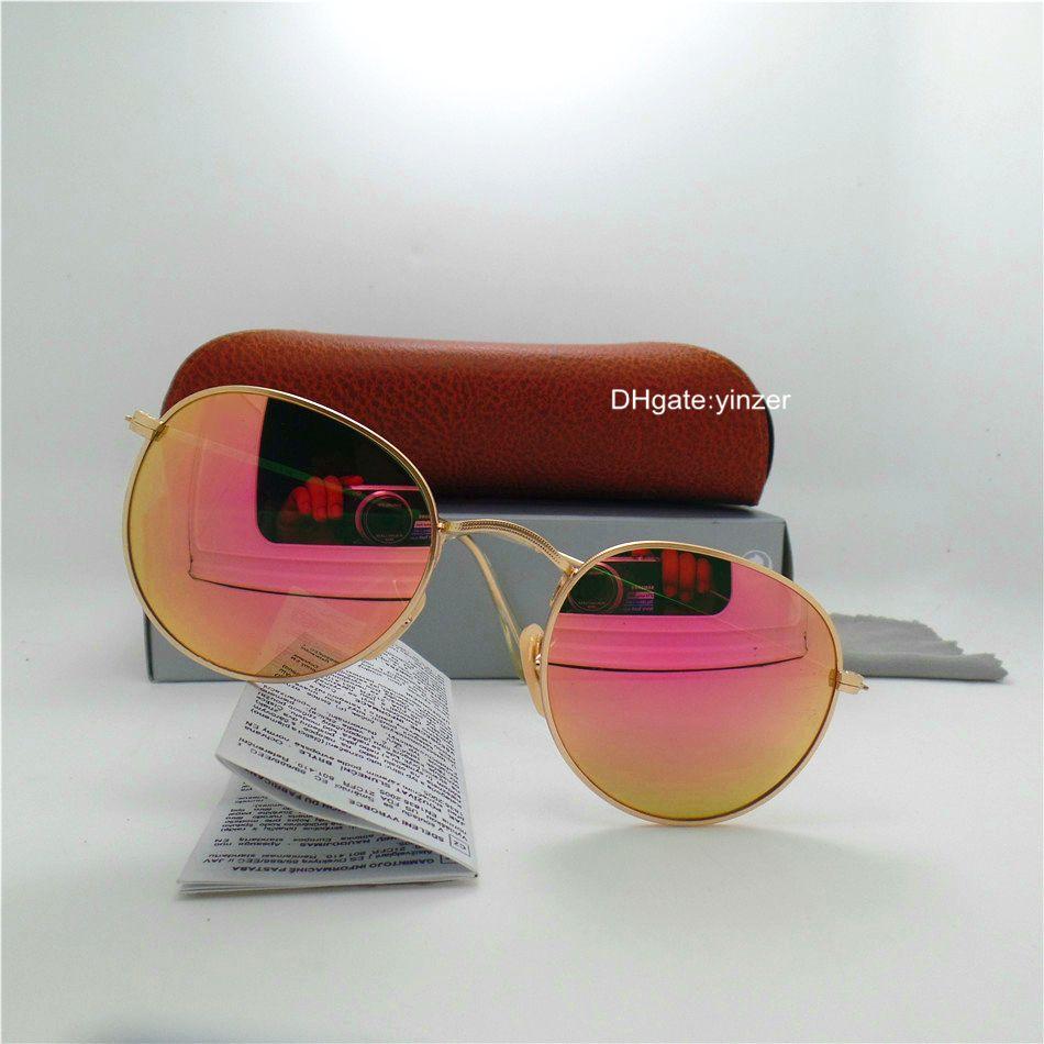 Стеклянный объектив Круглый Классические солнцезащитные очки Мужчины Женщины Марка Дизайнер Круг мужской UV400 Зеркало 51мм Открытый Овал Металл Солнцезащитные очки Brown Case Box