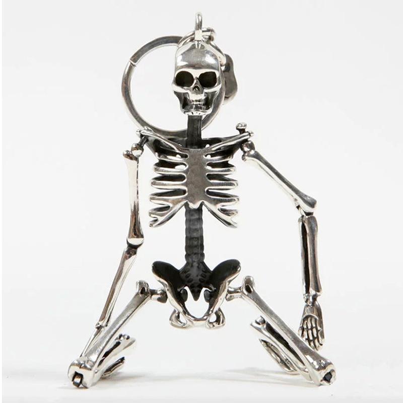 طوي هيكل عظمي قلادة مفتاح سلسلة للرجال النساء العتيقة فضي اللون سبيكة معدنية الجمجمة حقيبة سحر مفتاح حلقة سيارة المفاتيح كيرينغ