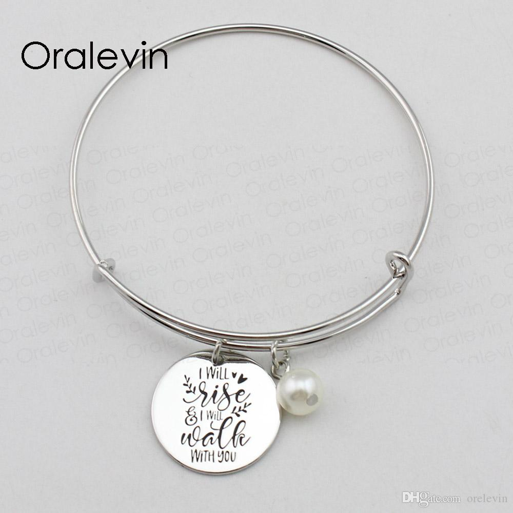 I WILL RISE I WILL WALK WITH YOU Inspirational Hand Stamped Engraved Charm Custom Pendant Wire Bracelet Handmade Jewelry,10Pcs/Lot, #LN2425B