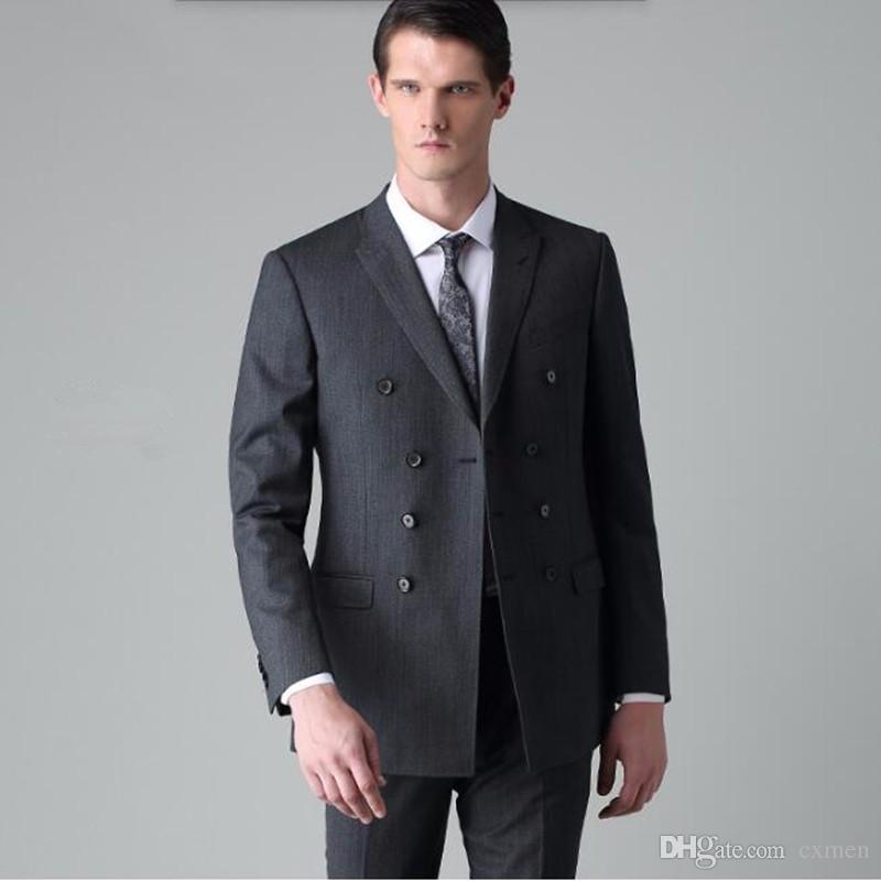Gray Men Suits 2018 Wedding Suits for Men Slim Fit Groom Tuxedos Prom Wear Handsome Best Men Blazer 3 Pieces (Jacket+Pants+Vest)