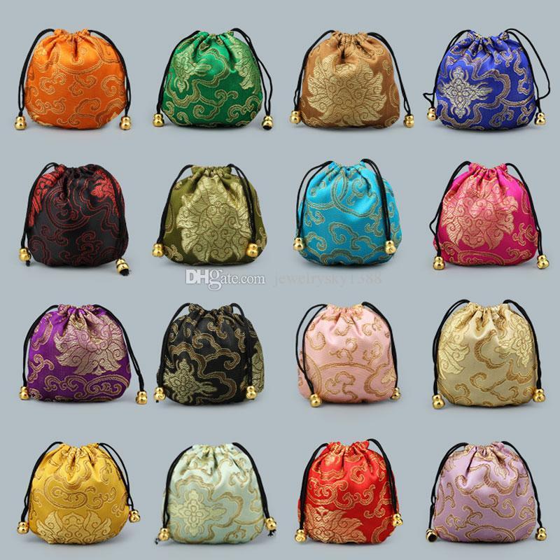 حار بيع الحرير الصغيرة الديباج المجوهرات الحقيبة حقيبة التخزين الصينية النسيج الرباط هدية التغليف عملة جيب