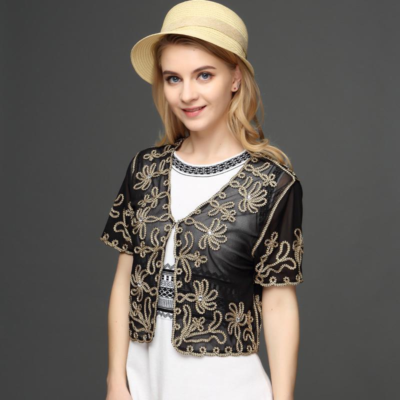 Muslim Style Summer Thin Short Sleeve V Neck Women's Cardigan Bolero Embroidery Floral Rhinestone Lace Mesh Shrugs Jacket