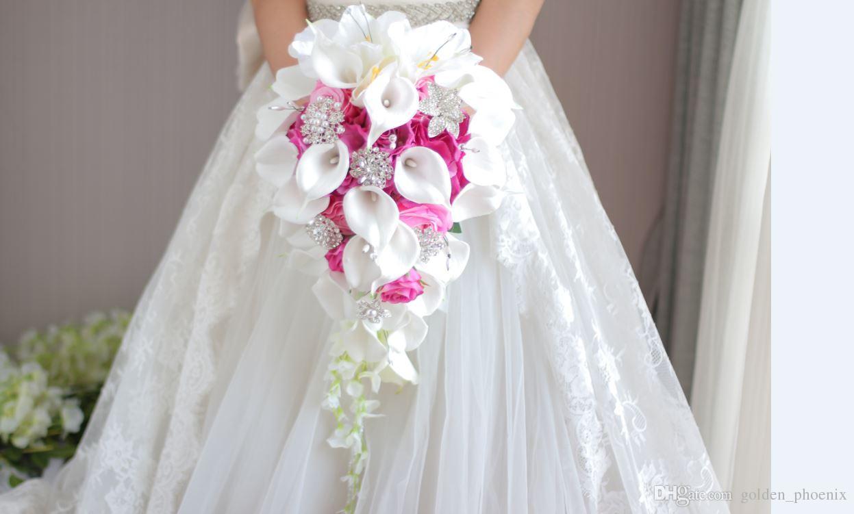 2018 High End Custom White Calla Lily Red Rose Hydrangea Diy Pearl