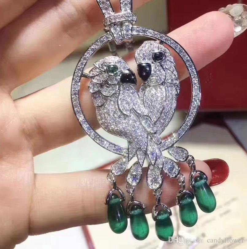 Высокое качество CZ алмазный зеленый натуральный камень подвески для птиц ожерелья из 18-каратного белого золота, ювелирные изделия для женщин