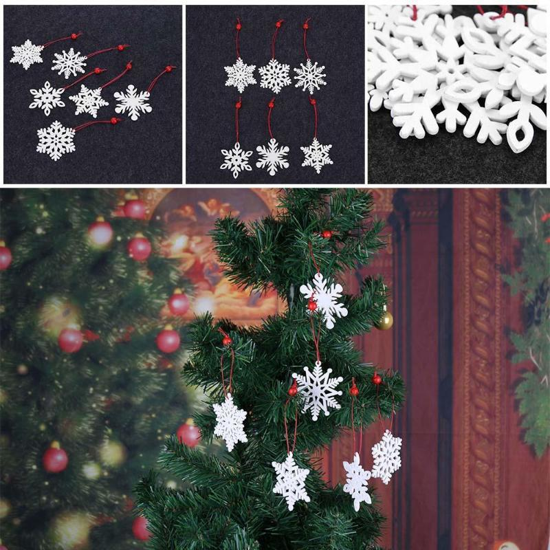 6pcs/set White Red Christmas Tree Ornament Wooden Hanging Pendants Snowflake Elk Christmas Decorations for Home Y18102609