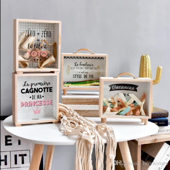 High Quality Piggy Bank Save Money Box Wood Ornament Art & Crafts, Furnishing gifts CR22