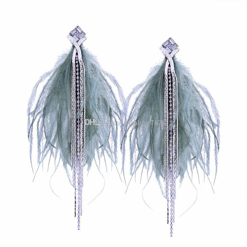 Chain Natural Feather Earrings for Women Long Feather Earrings for Women