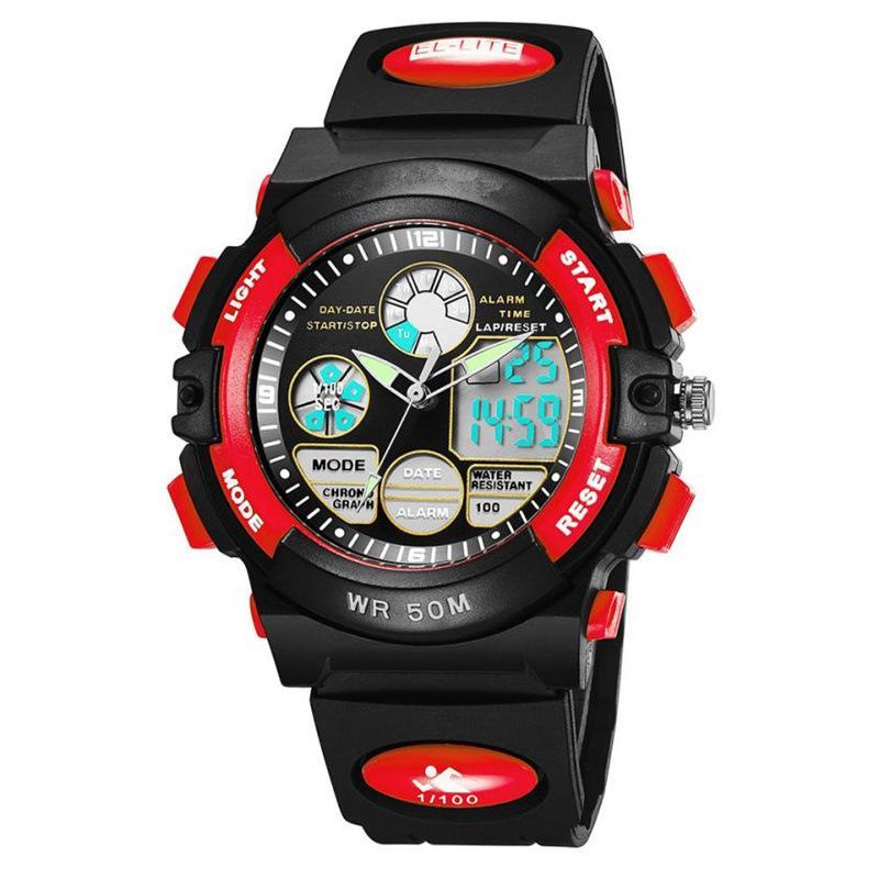 Sport Students Uhr-Mann-Jugend Teenager Multi-Funktions-50M wasserdicht Uhr-Taktgeber-LED Digital Double Action-Uhr-L40