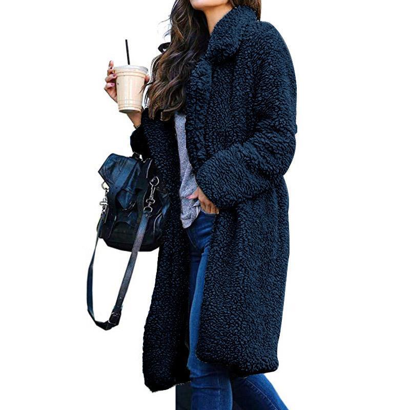 Теплые зимние Lamb меховые пальто женщин вскользь с длинным рукавом Длинные Искусственного меха Пальто зимние пиджаки женские теплые куртки Teddy Parka Femme
