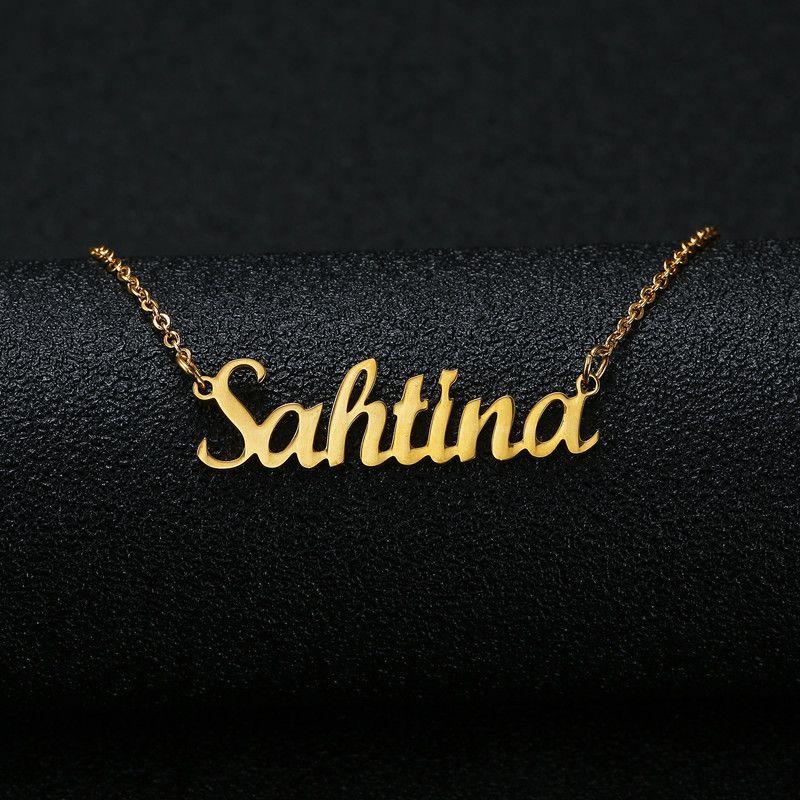 الذهب والفضة اللون شخصية مخصص اسم قلادة قلادة مخصصة لوحة مخطوطة قلادة النساء اليدوية هدية عيد ميلاد