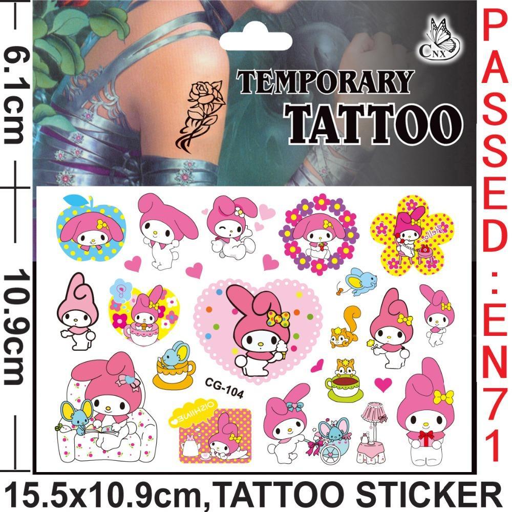 10 ADET Yeni Melody Kitty Cutie Kız Çocuklar Su Geçirmez Geçici Dövmeler Vücut Cilt Yüz Sticker Mühür Doğum Günü Partisi Iyilik Çıkartması