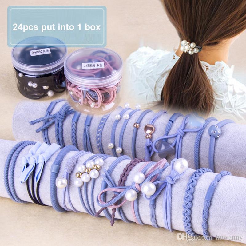 24 unids / caja pelo simple Hairband señoras pelo colorido aro de goma aro elástico cadena accesorios para el cabello al por mayor envío gratuito 0760WH