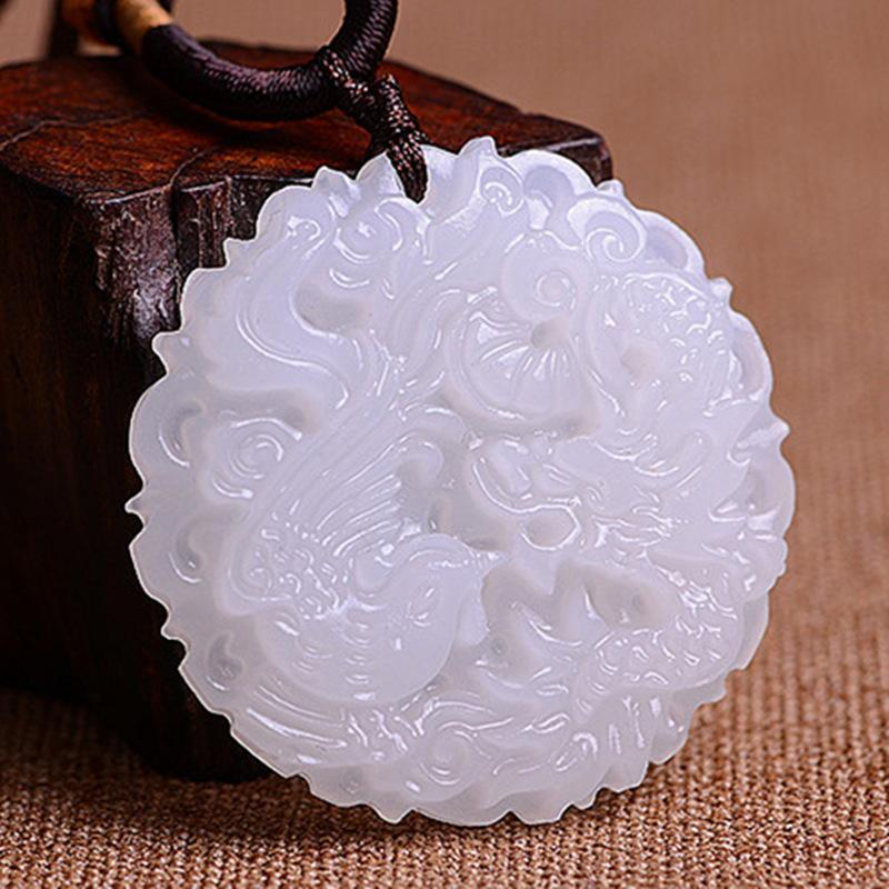 Natural exquisite Xinjiang white Carving Dragon and phoenix pattern pendant, automobile sachet pendant pendant wholesale retail