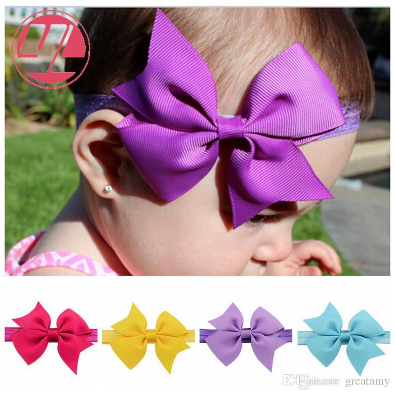 20 renk Bow şeker renk sevimli bebek kız düz renk balık kuyruğu yay hairband çocuk moda saç aksesuarları bebek kız tokalarım