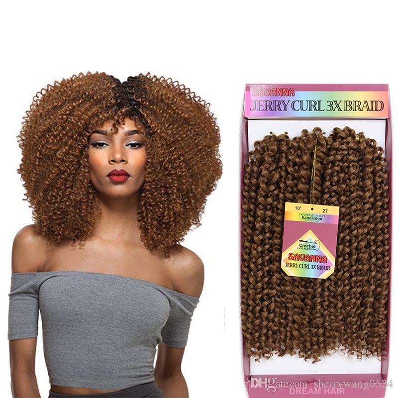 "10"" JERRY Curly Weave Synthetic Hair Kinky Style Crochet Braiding Synthetic Bundles 3Pcs/set Kanekalon Fiber Premium Freetress Hair"