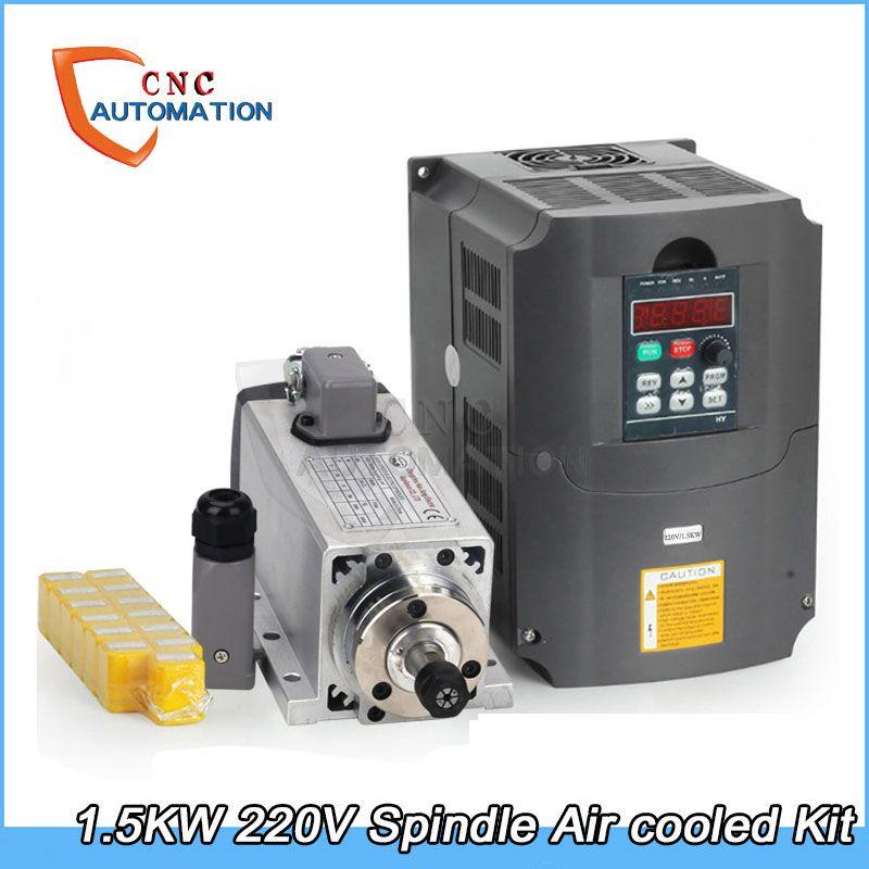 1.5kw air cooled spindle motor kit cnc spindle motor + 1.5KW 220v inverter + 13pcs er11 Square milling machine spindle