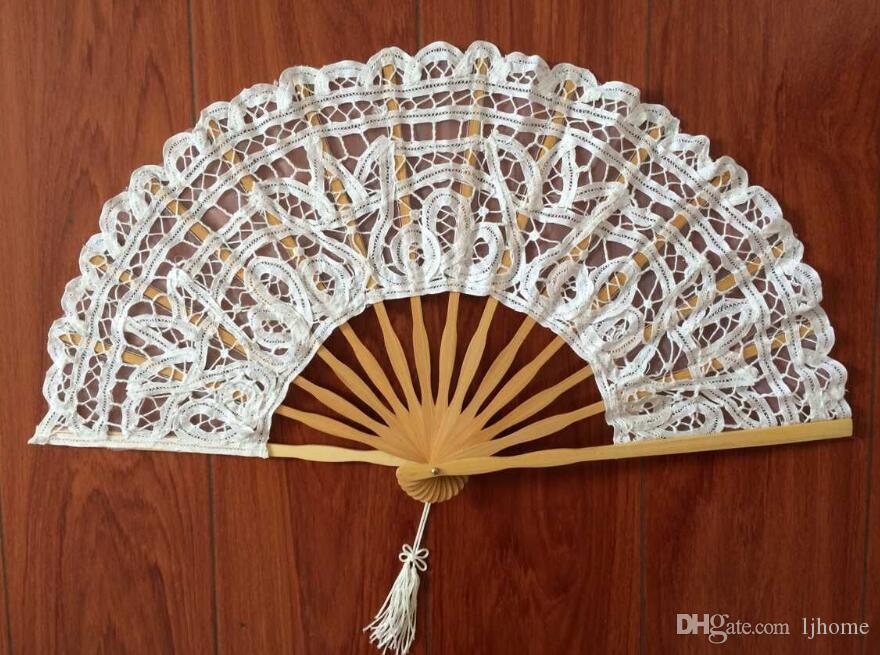 Handgemachte Fan Lace Stickerei Hochzeit Braut Vintage Palace Style Hand Fan Cosplay Zubehör Hochzeit Gunsten kleine Geschenke Kunst und Handwerk