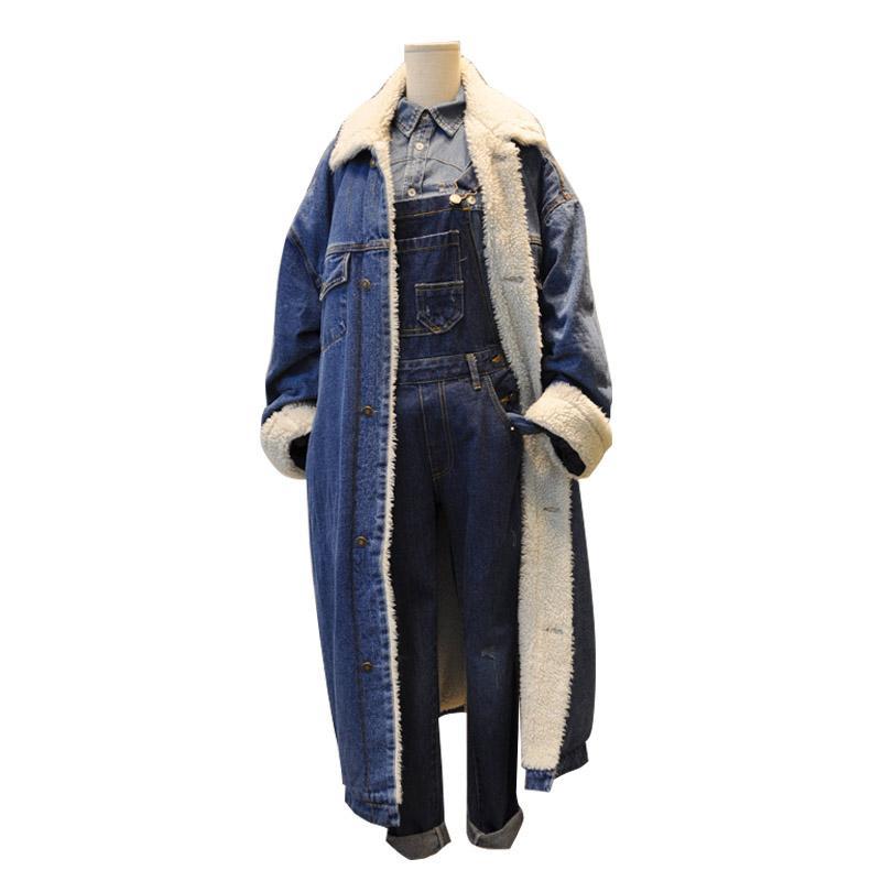 Toptan-Erkekler Kadınlar Uzun Denim Siper Ceket Yüksek Sokak Moda Hip Hop Kış Kalın Kaşmir Jean Trençkot Rüzgarlık Erkek Palto