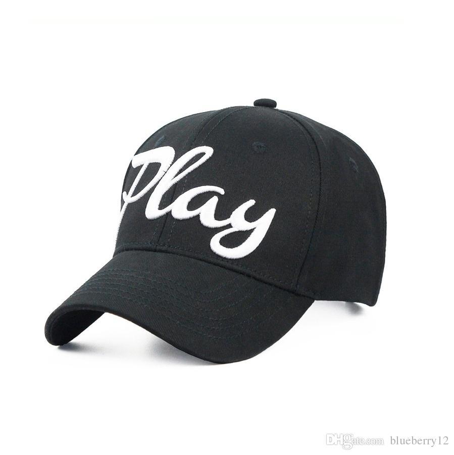 Играть Вышитые шапки Мужчины Женщины Мода Бейсболка 2 Цвета Спортивные Шарики Шапки Регулируемые Хлопковые Шляпы