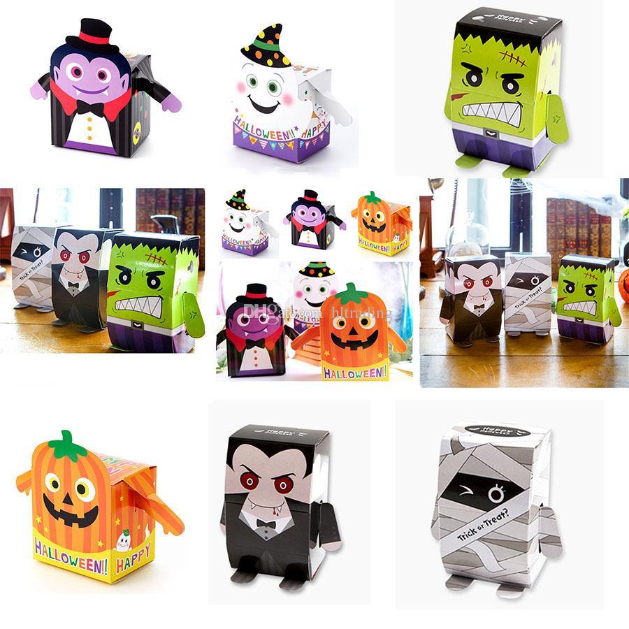 할로윈 사탕 종이 상자 만화 유령 좀비 호박 올빼미 모델링 DIY 쿠키 상자 어린이 선물 가방 6 스타일 C5071