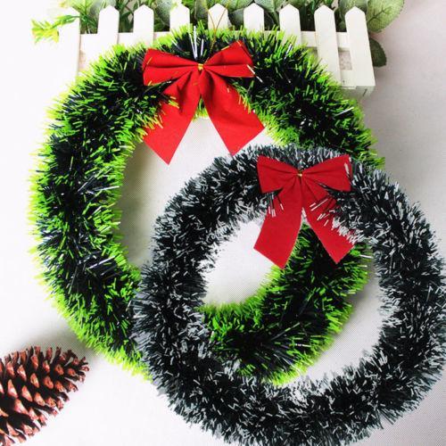 2017 1 pc Guirlande De Noël 35cm Arc-noeud Guirlande De Noël Mur Ornement Porte Décor Navidad Décorations De Noël pour La Maison Y18102609