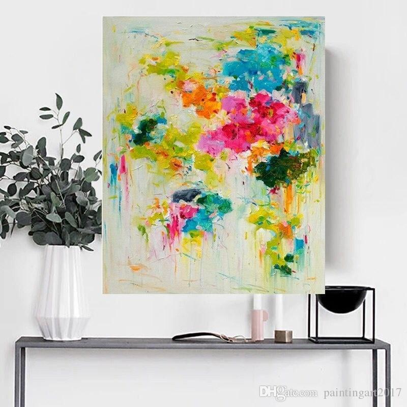 Handmade Spring color thick knife abstract oil painting Abstract on Canvas Still Life Painting Picture Decor Oil Painting