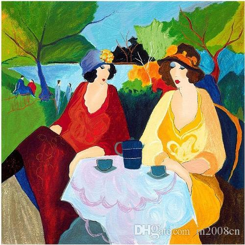 Canvas Painted Oil Painting Wall Itzchak Tarkay Two Ladies Multi Sizes
