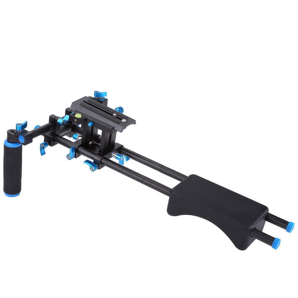 Freeshipping Rig DSLR caméra Support de montage vidéo épaule tête portable Système de support 15mm Rod Clamp Support