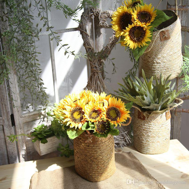 Silk Sunflower 35cm 7 Heads Artificial Bridal Flowers Bouquet Pan Cloth For Wedding/Party/Home Decorations