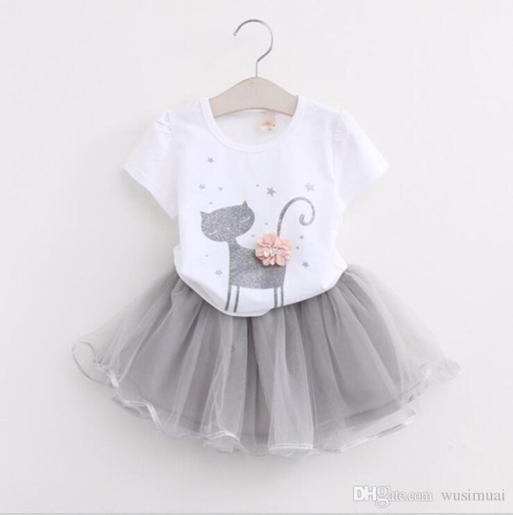 한국 귀여운 고양이 만화 패턴 아기 소녀 드레스 세트 아기 소녀를위한 두 조각 세트 작은 아이 옷 여름 드레스