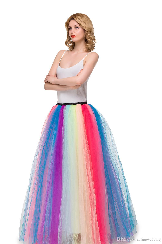 Womens Bunt Regenbogen Langer Rock Petticoat Eine Linie Krinoline Unterrock DE