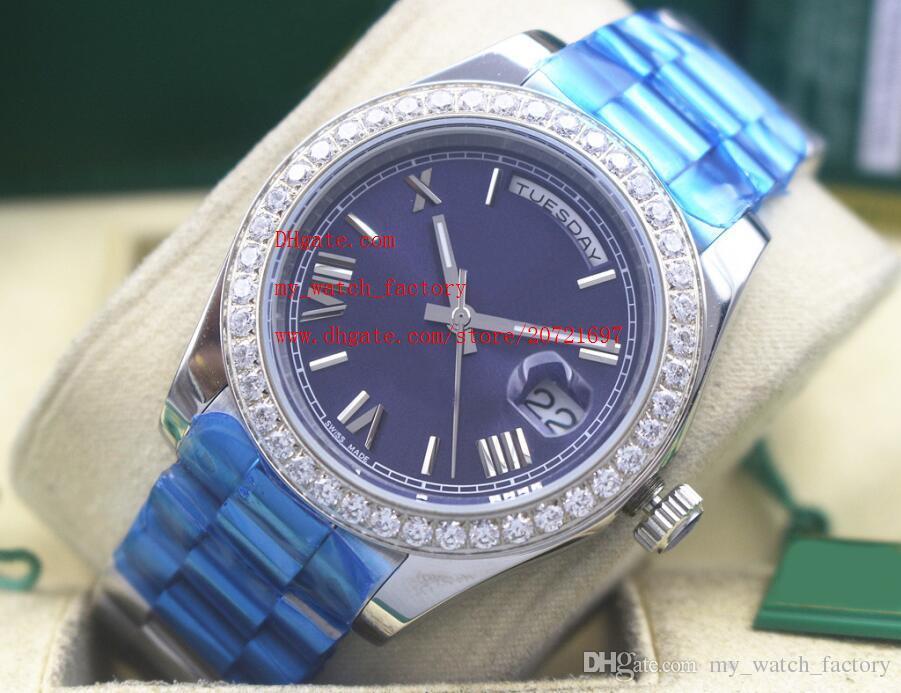 Fabrik Lieferant Luxus Hohe Qualität Armbanduhren Saphirglas 41mm TAGDATUM Blaues Zifferblatt Diamant Lünette Automatische Mechanische Herrenuhren