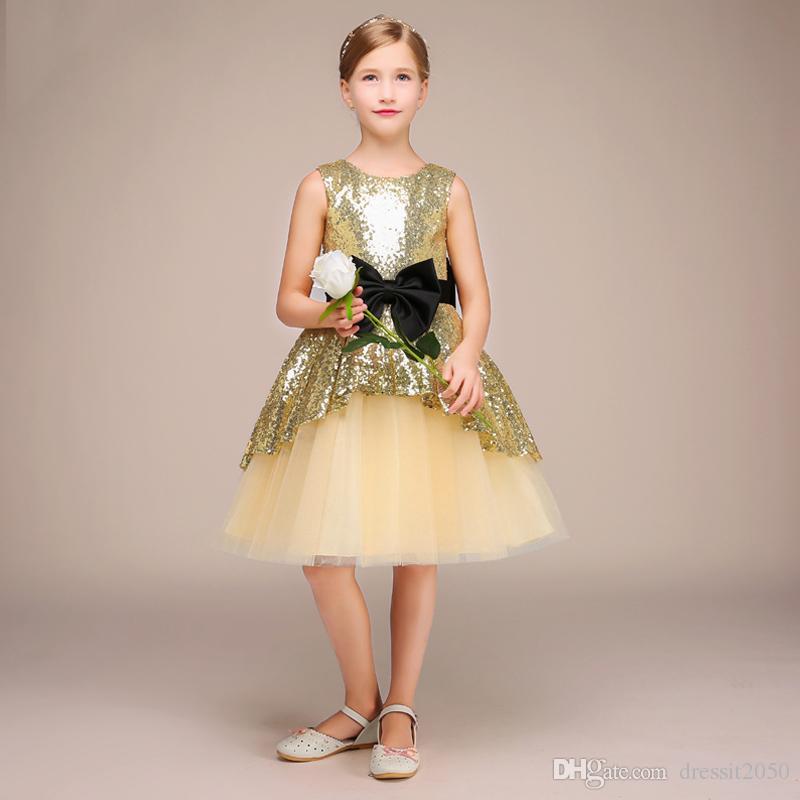 Beauty Gold Sequins Tulle Jewel Knee Flower Girl Dresses Girls' Pageant Dresses Holidays Dresses Birthday Skirt Custom Size 2-14 DF624269