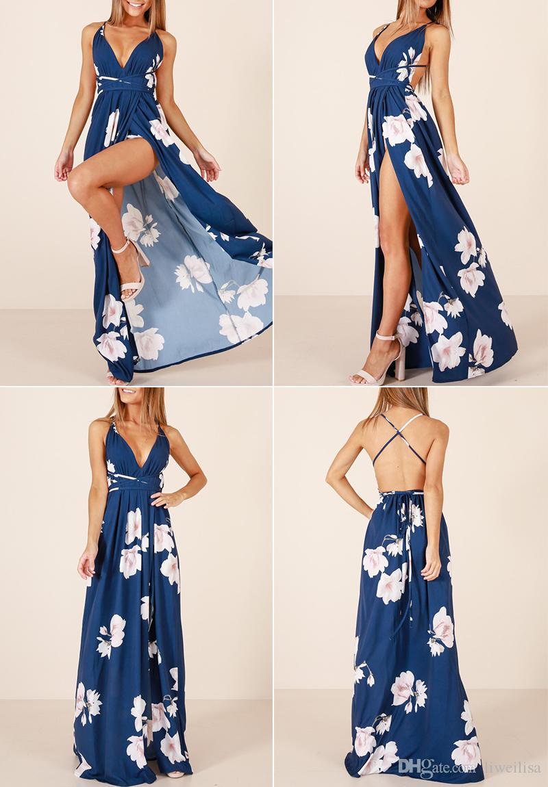 Kız Seksi Kolsuz V Boyun Mavi Kadınlar Maxi Elbise Çiçek Baskı Boho Plaj Uzun Elbiseler Bölünmüş Parti 2018 Vestido