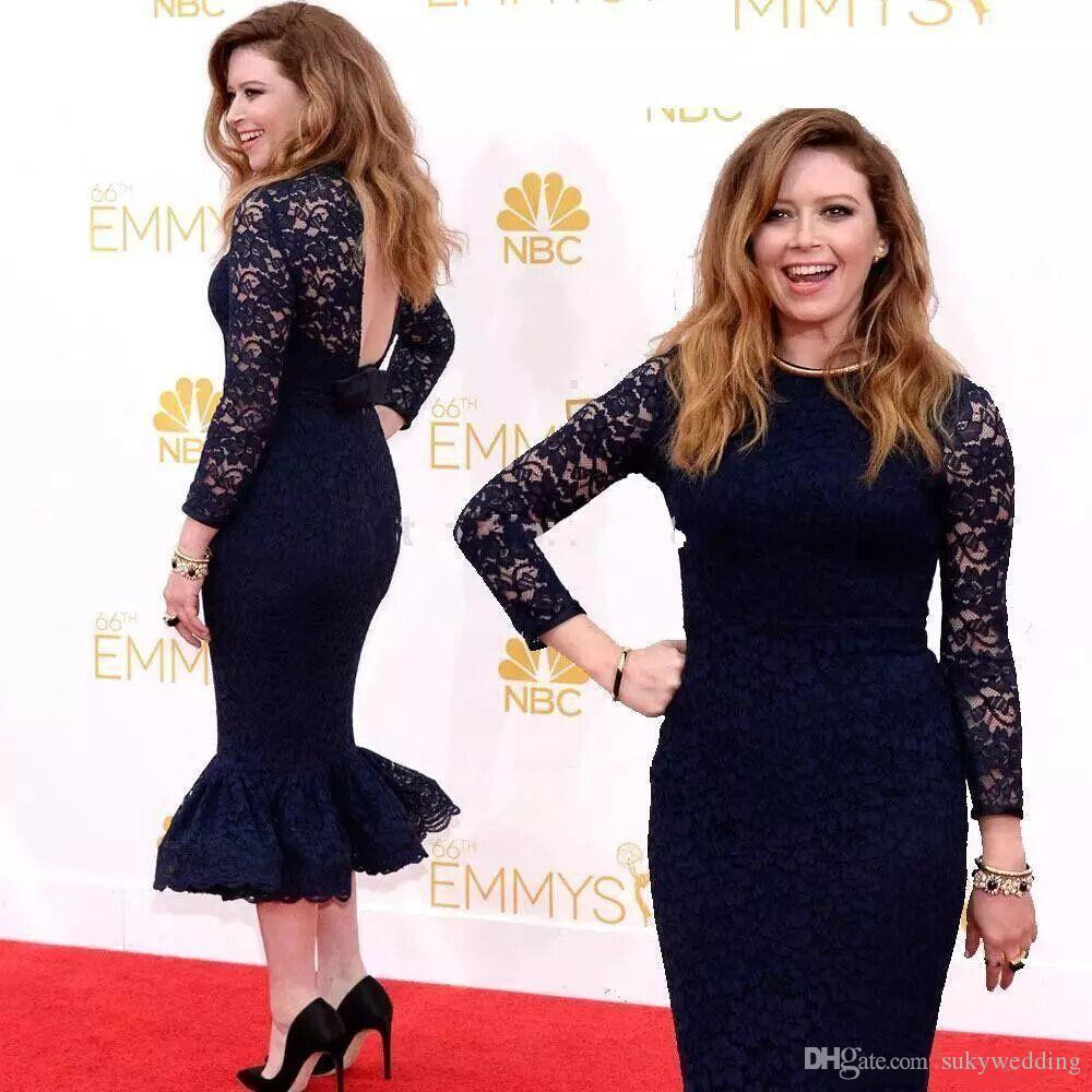The 66th Emmy Awards Celebrity Dresses Sheath Long Sleeves Backless Mother Of Bride Dresses Tea Length Dark Navy Lace Evening Party Gowns