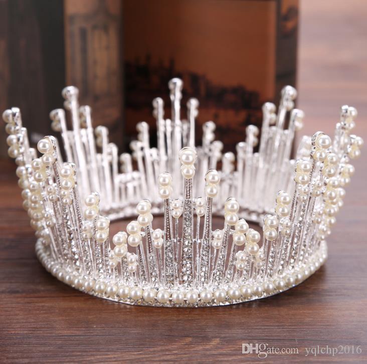 Copricapo da sposa Barocco pieno cerchio perla squisito Crown Princess Sposa accessori da sposa corona