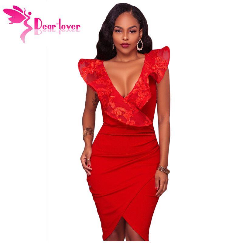 Уважаемый любитель платья партии лето 2018 сексуальные дамы Bodycon красный синий рябить V-образным вырезом подробно миди платье Vestido де феста Курто LC61879