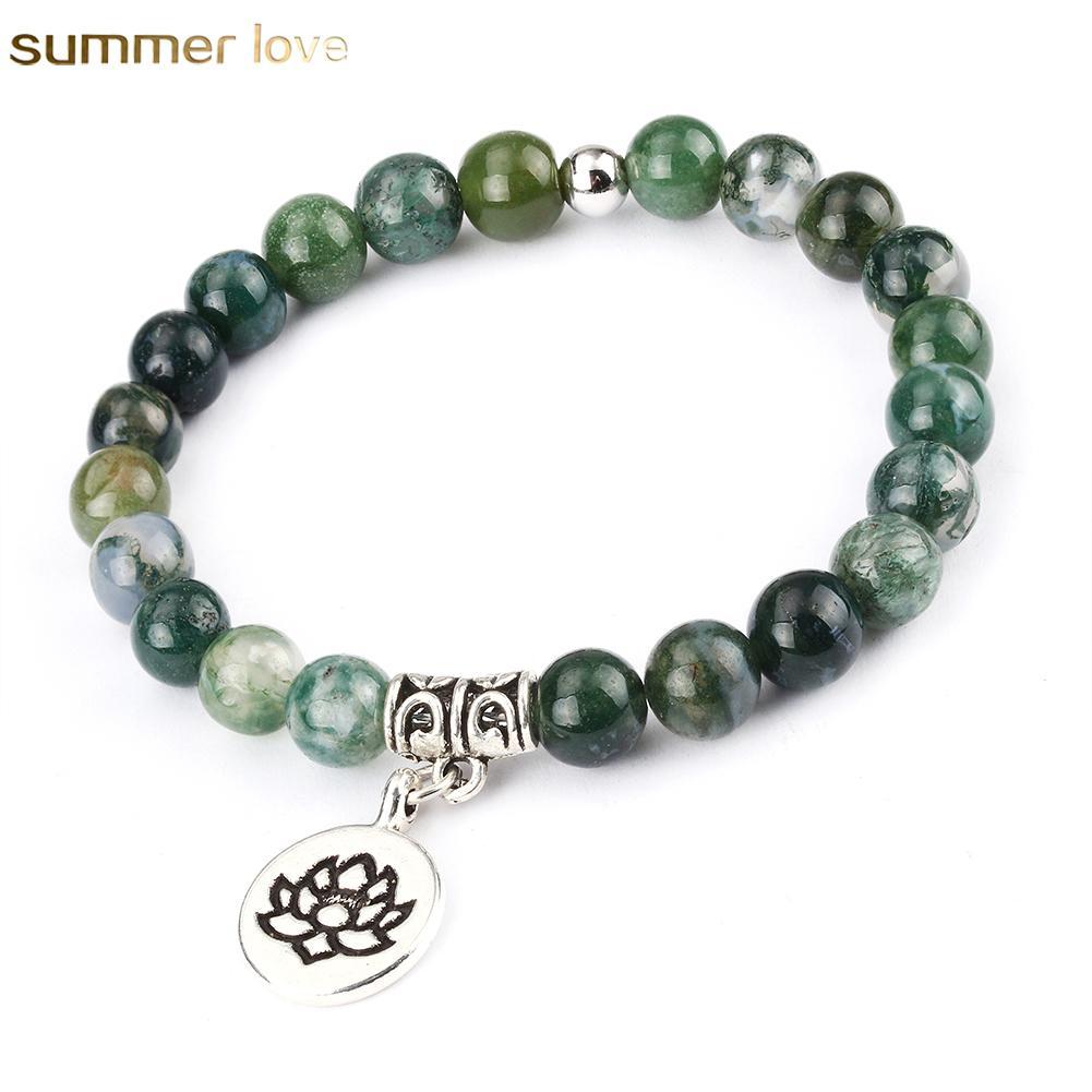 New Fashion 8mm Natural Stone Beads Bracelet Turquoise Prayer Beads Bracelets With Lotus Charms Anti-fatigue Men's Women's Fashion Diffu