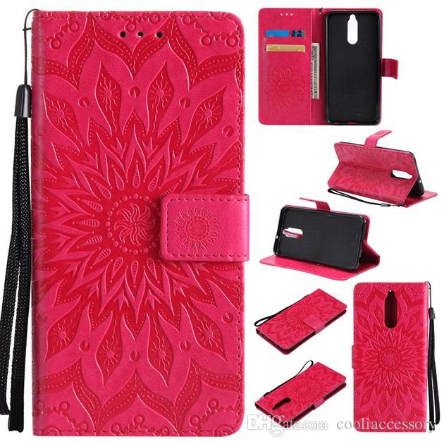 Sun flower Wallet Leather Pouch Case For Samsung Galaxy A8 2018 Huawei Mate 10 Lite ZTE Blade A110 Strap ID Card Stand TPU Skin Cover 100pcs