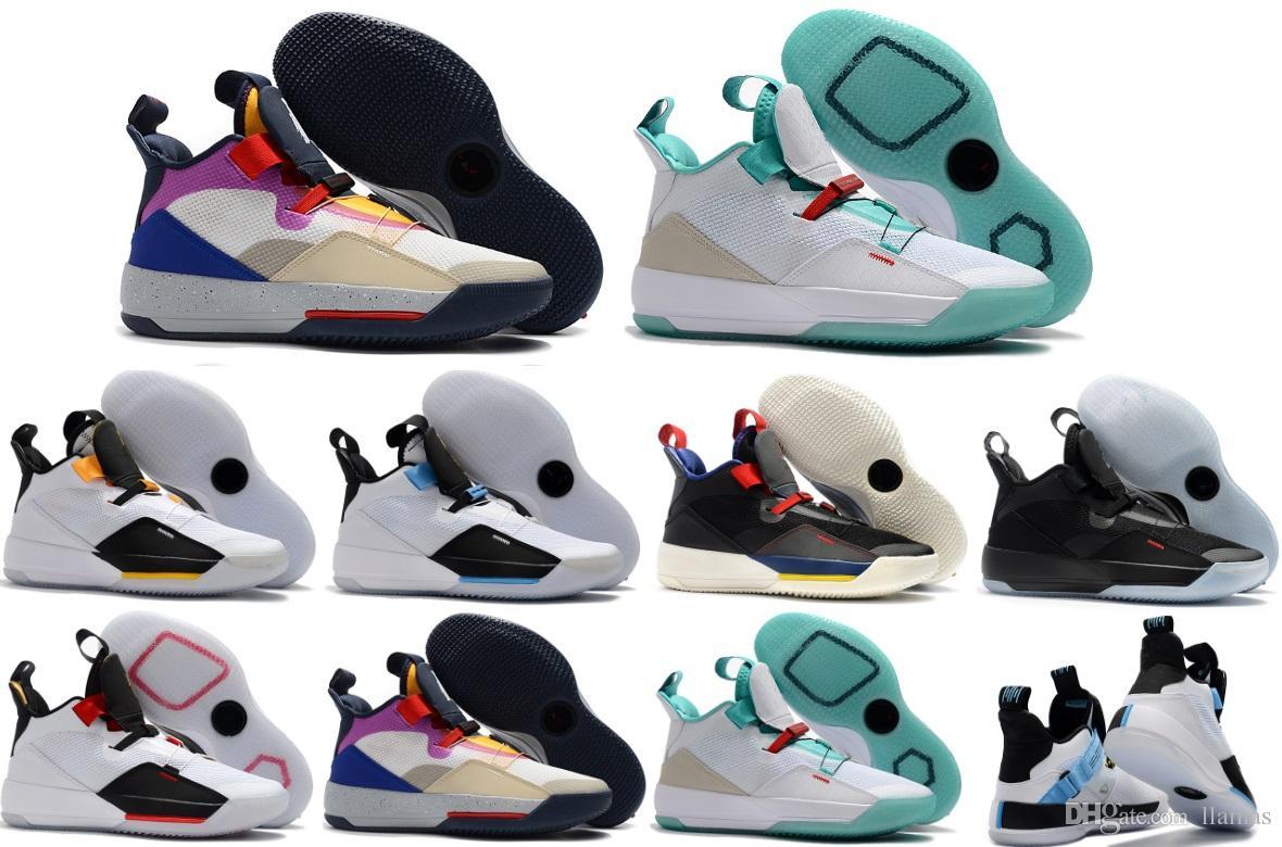 2018 Yeni Jumpman 33 XXXIII Beyaz Yeşil siyah Mor Spor Basketbol Ayakkabıları Erkek Erkek En kaliteli multicolo Sneakers Tasarımcı Eğitmenler