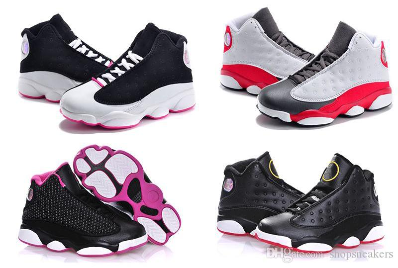 cheap Kids 13s Shoes Children Basketball Shoes for Boys Girls 13s Black Sports Shoe Toddlers Athletic Shoes Birthday Gift