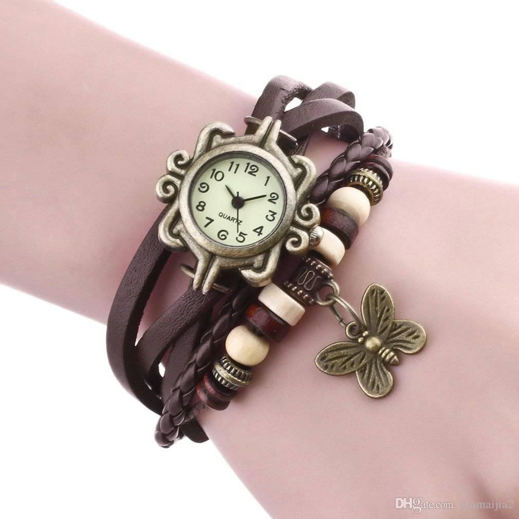 Women Girl Ladies PU Leather Strap Butterfly Bracelet Watch Quartz Movement Wrist Watch