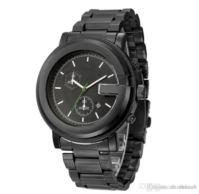2018 New Style Gold Dial With Calendar Diamond Male Leisure Watches Vogue Folding Steel Band Multi-function Calendar Quartz Wristwatch