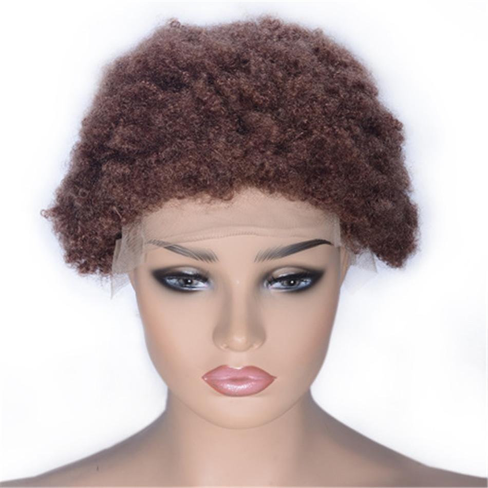 Short Lace Front Human Hair Wigs #33 Brazilian Hair Afro Curly Wig Swiss Lace for Black Women