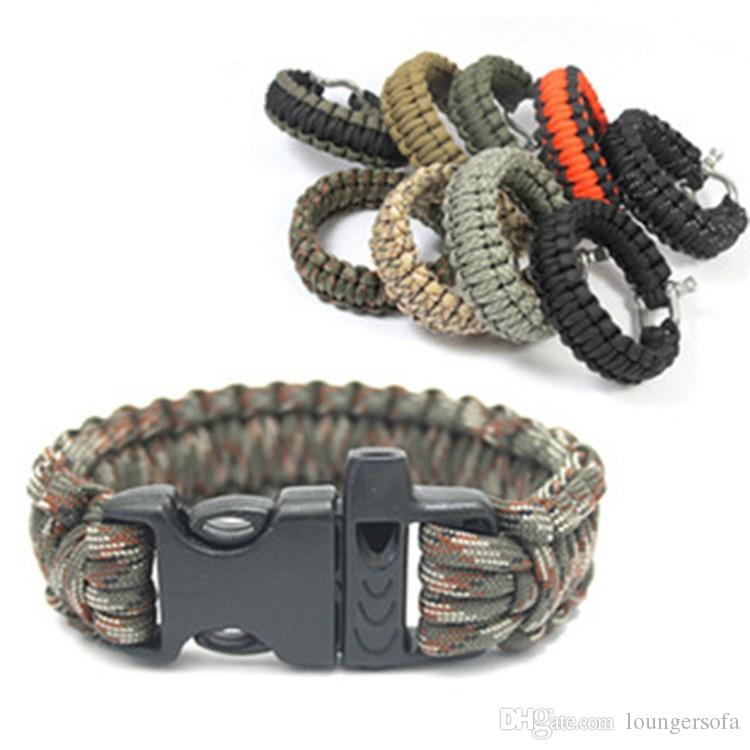 Outdoor Parachute Cord With Black Plastic Buckle Survival Bracelets Hiking Camping Travel Hand Made Wristband Hot Sale 1 9at B