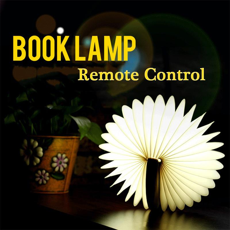 Fashion Gift White Kraft Paper IR Remote Control Book LED Desk Lamp PU Leather USB Folded Magnetic Novelty Night Lighting Book Shape Light